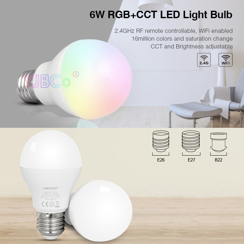 Miboxer FUT014 6W RGB+CCT LED Light Bulb 2.4G Wireless Remote Control Android/iOs APP Smart Warm White Dimmable Lamp AC100~240V