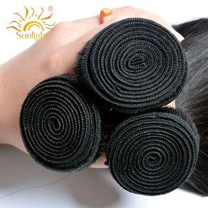 Image 4 - ストレートヘア閉鎖ペルー髪織りバンドル閉鎖日光人間の髪のバンドル非レミー毛延長