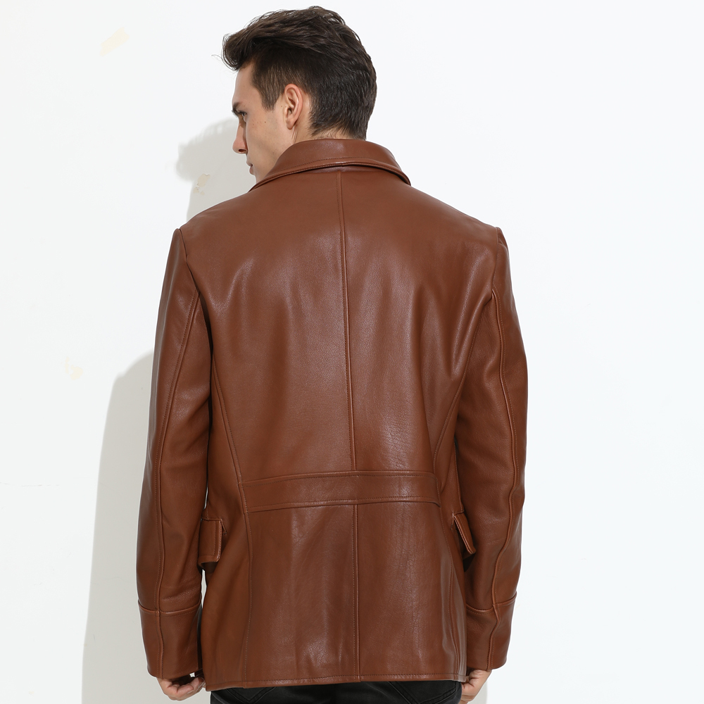 2020 Brown Men Long Casual Leather Jacket Large Size XXXXL Double Breasted Genuine Cowhide Russian Autumn Fashion Leather Coat
