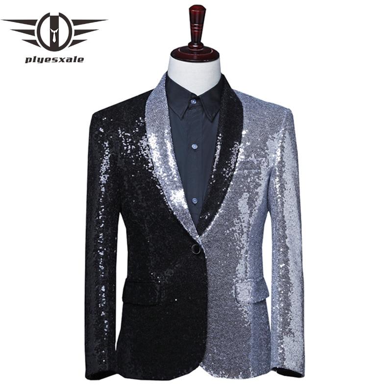 Black Silver Mens Sequin Blazer Jacket Fashion Patchwork Shiny Blazer Tuxedo Elegant Pailletten Glitter Blazers Costume Q598