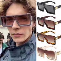 2020 óculos de sol quadrados de grandes dimensões mulheres marca de luxo moda plana topo colorido lente clara óculos de sol do vintage homens gafas