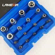 LAMEZIA 17pcs/set Chromium-vanadium Steel Multifunctional Impact Sockets Set Professional Screwdriver With Screw Head Kit