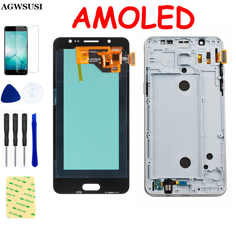 AMOLED For Samsung Galaxy J5 2016 LCD <font><b>Display</b></font> SM J510F <font><b>J510FN</b></font> J510M J510Y J510G Touch Screen Digitizer Sensor Assembly Frame image