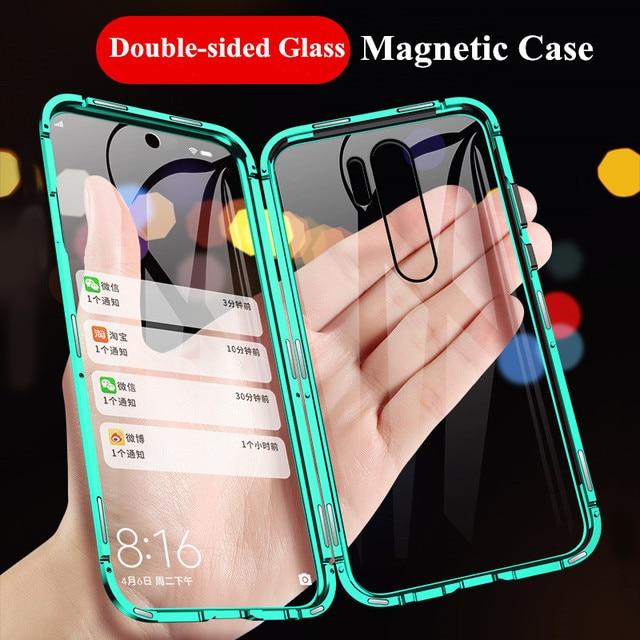 Novo para redmi note 8 pro vidro temperado de dupla face proteger capa traseira caso para xiaomi mi nota 8 note8 pro 8t magnética caso