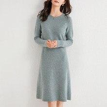 100% cashmere e lã tricô vestidos femininos 2020 inverno nova moda comprimento-keen quente & melhor qualidade vestido feminino o-neck pano