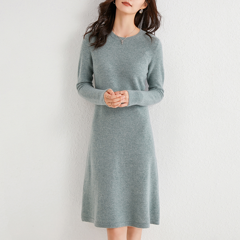 100% Cashmere and Wool Knitting Dresses Women 2020 Winter New Fashion Length-keen Warm&Best Quality Dress Female O-neck Cloth