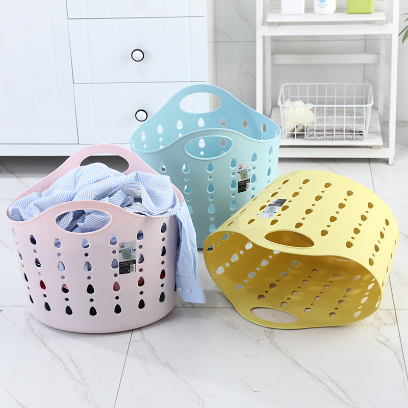 Soft Plastic Unbreakable Dirty Clothes Basket  Large Household Toy Storage Bucket Thickened Reinforced Portable Storage Basket20|Storage Baskets| |  - title=