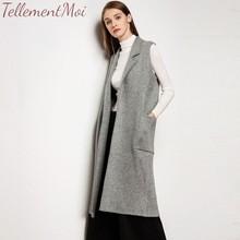Women Vest Sleeveless Pocket Coat Open Front Solid Long Vests Jacket Outwear Knit Female Cardigan Tops 2019 Autumn Winter New open front plaid knit cardigan