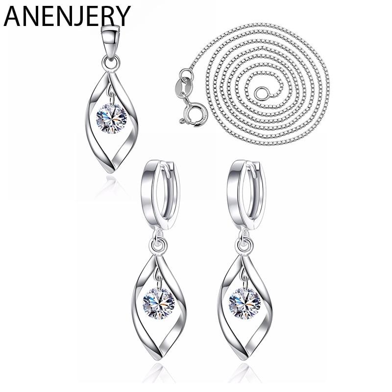 ANENJERY 925 Sterling Silver Jewelry Sets Zircon Twist Water Drop Necklace+Earrings For Women Gift