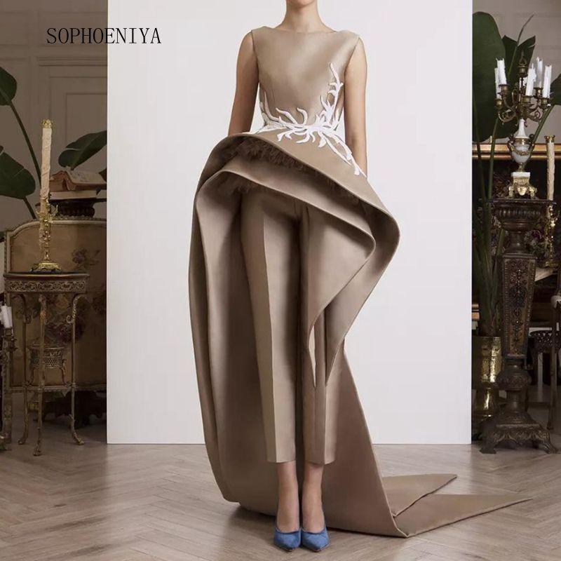 Robe De Soiree 2020 Formal Dress Satin Avondjurk Lace Appliques Evening Dresses Elegant Long
