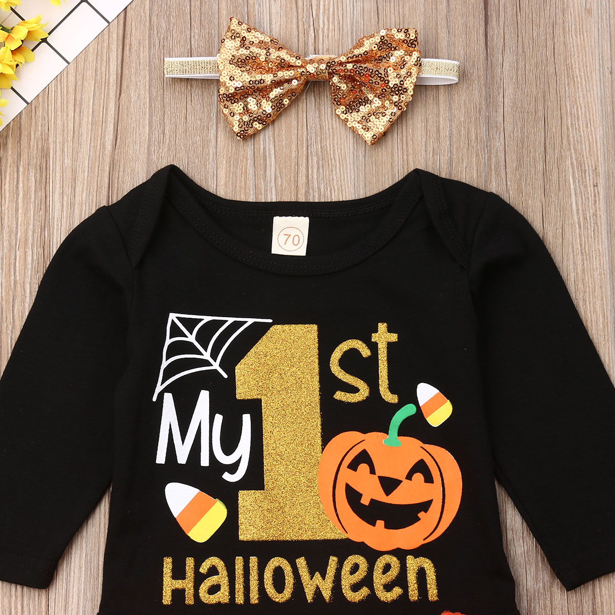1st Halloween Baby Romper Bodysuit Tutu Sets