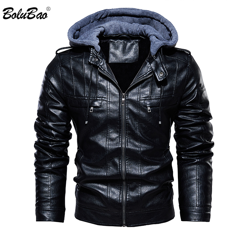 BOLUBAO Men Hooded Laether Jackets Coat Autumn Winter Male Fashion Thicken Warm Solid Color Laether Jacket Mens Jackets Clothing