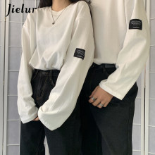 Jielur Koreanische Stil Mode Langarm T-shirt Frauen Harajuku BF T-shirts Frühling Lose Paar Tees Weiß Top Hipster Kleidung