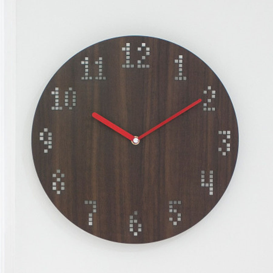 Wooden Wall Clock Modern Design For Living Room Nordic Brief 3D Digital Clocks Wood Wall Watch Home Decor Silent 12 Inch