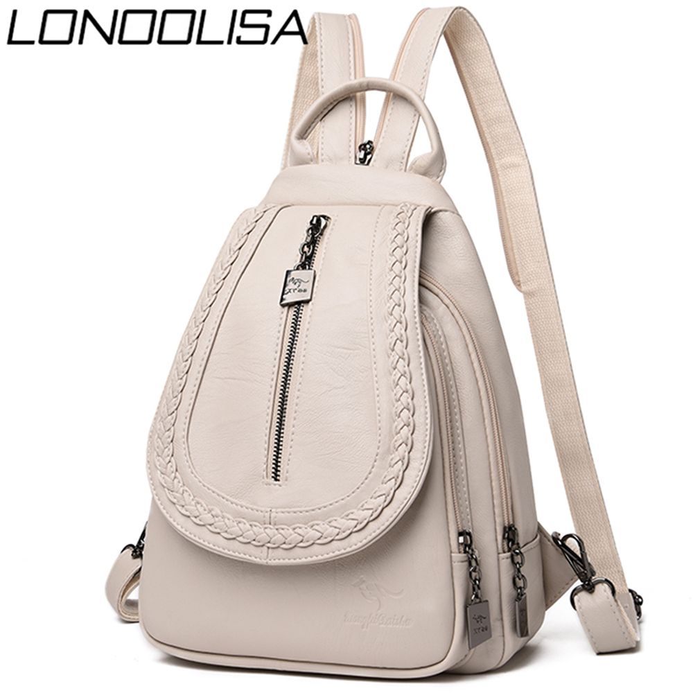 LONOOLISA Women Leather Backpacks High Quality Female Backpack Casual Daily Bag Sac A Dos Ladies Bagpack Travel School Back Pack