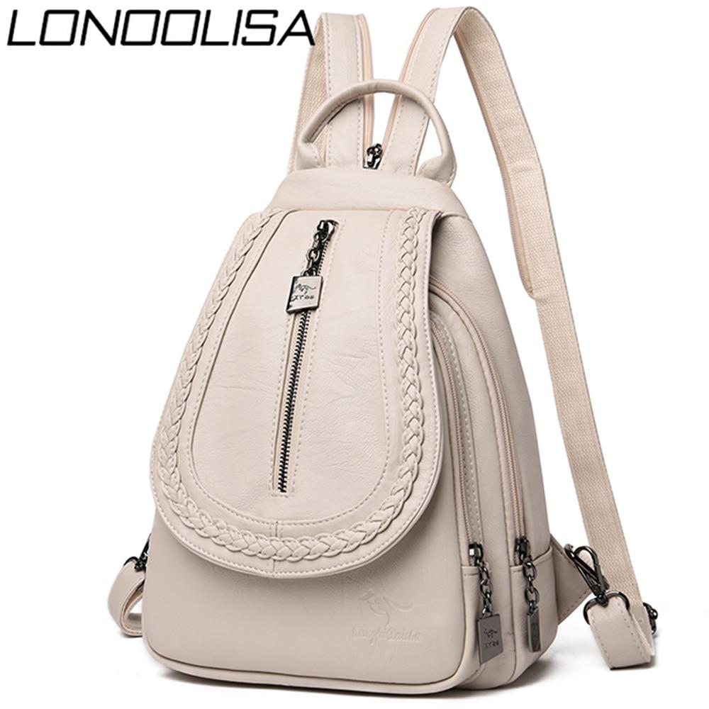 Lonoolisa mochilas de couro feminino alta qualidade mochila casual saco diário saco das senhoras bagpack viagem escola volta pacote