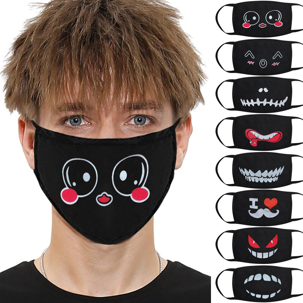 Washable Reusable Cartoon Mouth Masks PM2.5 Filter  Printing Fabric Anti-spitting Dust Protective Masks Mascara Protectora
