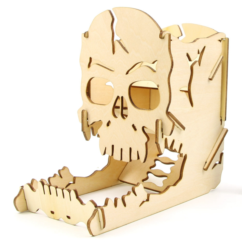 Skull Dice Tower Wood Skull Carving Dice Easy Roller Box For RPG Board Games