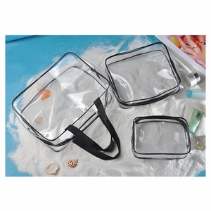 Hot 3pcs Clear Cosmetic Toiletry PVC Travel Wash Makeup Bag (Black)