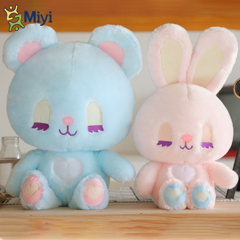 New Soft Cute Rabbit/Bear Plush Toys Stuffed &Plush Animal Baby Toys Doll Baby Accompany Sleep Toy Gifts For Kids Candy Color