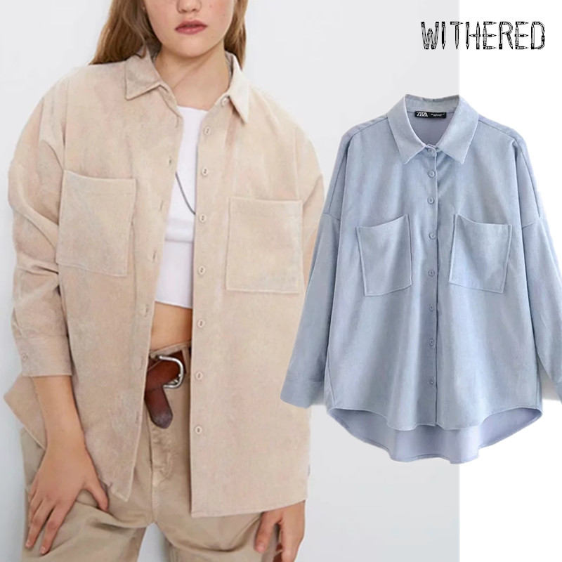 Withered Spring England Preppy Oversize Corduroy Boyfriend Shirt Women Blusas Mujer De Moda2020 Womens Tops And Blouse Plus Size
