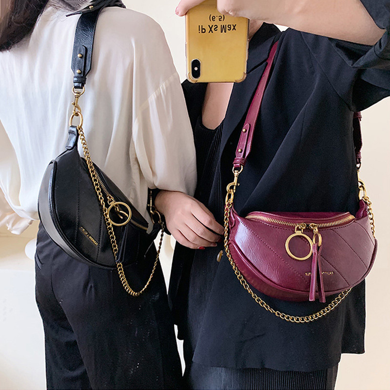 Women's Shoulder Bags 2019 Fashion PU Leather Crossbody Bag Chain Design Ladies Messenger Bag Girl's Cell Phone Handbags Female