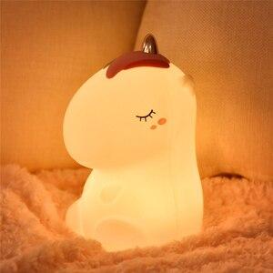 Image 3 - חד קרן LED לילה אור חיישן מגע צבעוני USB נטענת קריקטורה סיליקון שינה המיטה מנורת לילדים ילדים בייבי מתנה