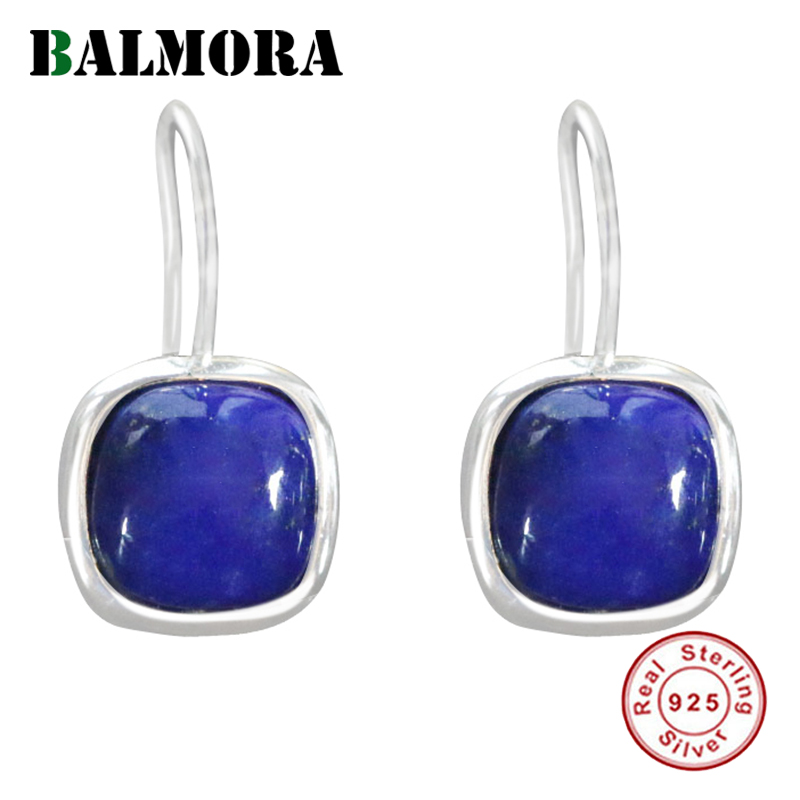 BALMORA 925 Sterling Silver Lapis Lazuli Drop Dangle Earrings For Women Lady Gift Retro Elegant Fashion Simple Jewelry Brincos