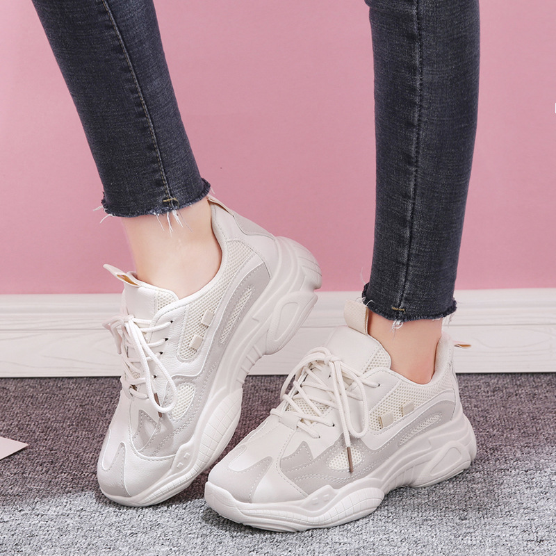 Sneakers Women 2019 Fashion White Casual Shoes Brand Mesh Platform Shoes For Dad Chunky Sneakers Outdoor Walking Shoes Footwear