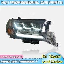 Acessórios do carro faróis led para toyota land cruiser 17 19 para lâmpada de cabeça led drl lente feixe duplo h7 hid xenon bi xenon lente