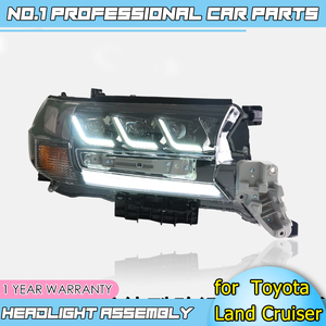 Image 1 - Car accessories LED headlights for Toyota Land Cruiser 17 19 for head lamp LED DRL Lens Double Beam H7 HID Xenon bi xenon lens