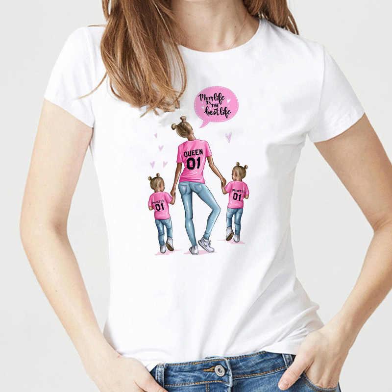 Super Mama T-shirts Voor Vrouwen Moeder Liefde Print Wit T-shirt T-shirt Femme Katoen Vogue T-shirt Tops Streetwear kleding