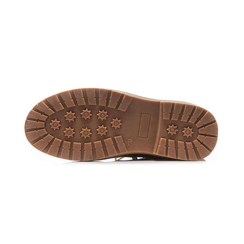 النساء الشتاء الصوف بطانة أحذية عادية بولي Leather الجلود عالية أعلى دراجة نارية الأحذية الدانتيل يصل كتلة منخفضة الكعب الإناث حذاء من الجلد