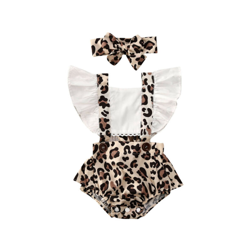 2Pcs Newborn Baby Girl Leopard Jumpsuit Headband Clothes Ruffles Short Sleeve Patchwork Backless Bodysuits 0-24M