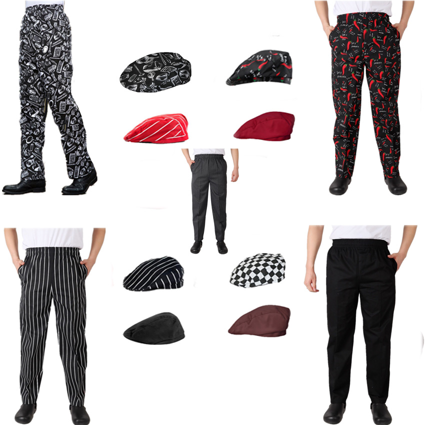 Fashion Elastic Waistband Chef Uniform Pants Hats Men Costume Work Wear Cook Kitchen Striped Trousers  Breathable  Fancy Costume