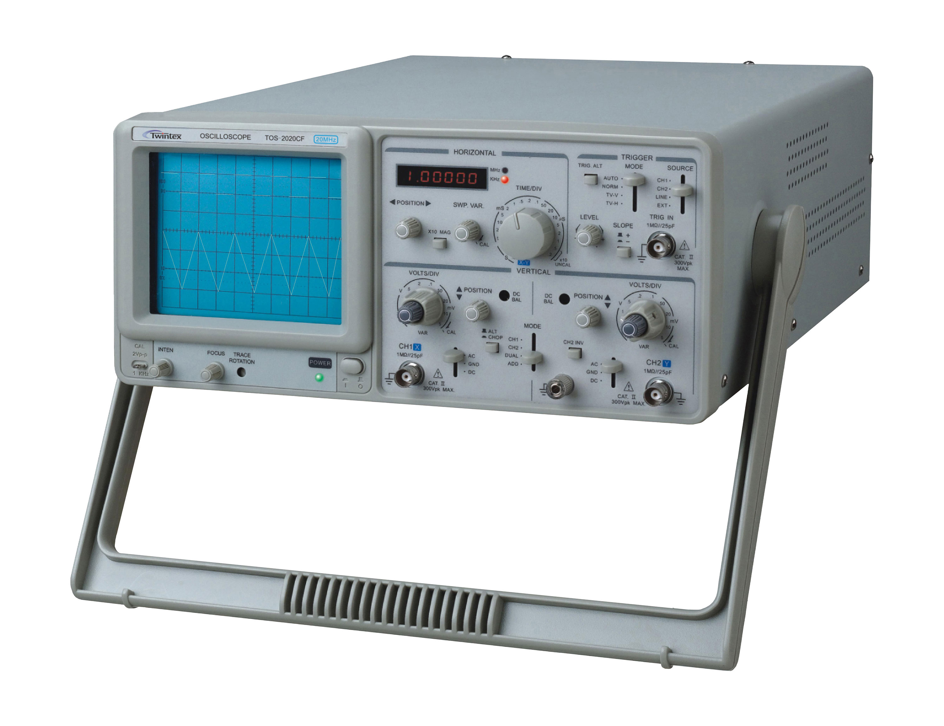 TWINTEX TOS-2020CF Analog Oscilloscope 20MHz With Built-in 6 Digits Frequency Counter