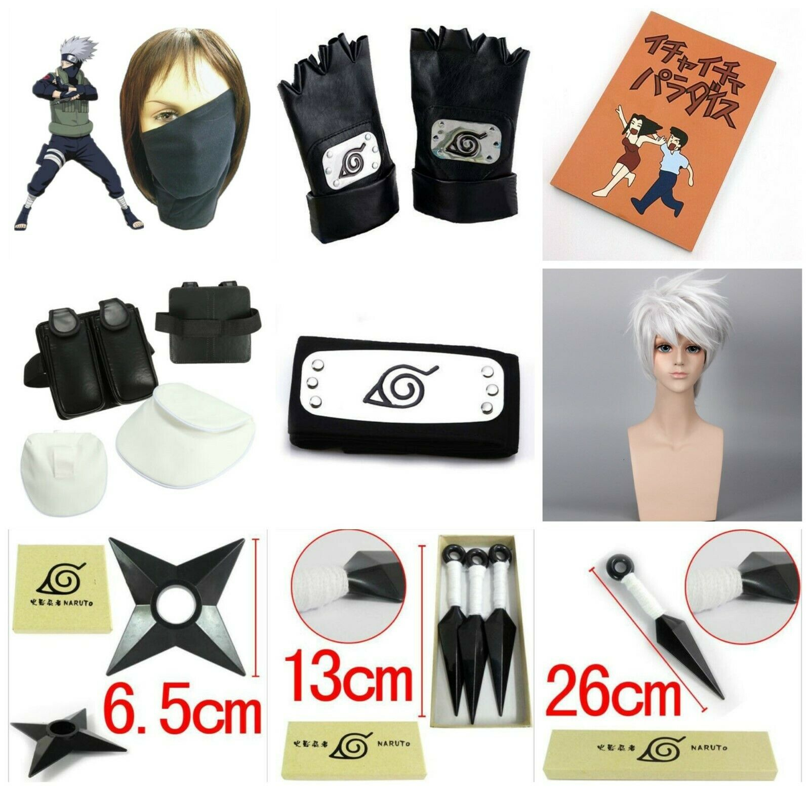 Anime Naruto Hatake Kakashi Cosplay Headband Gloves Wig Face Mask Darts Accessory Shuriken Japanese Halloween Party Apparel