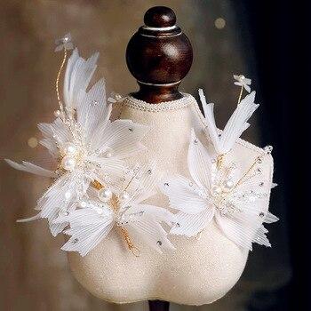 New Korean  Super Fairy Crystal Yarn Flower Headdress Shiny Mori women brides Wedding Hair Accessories