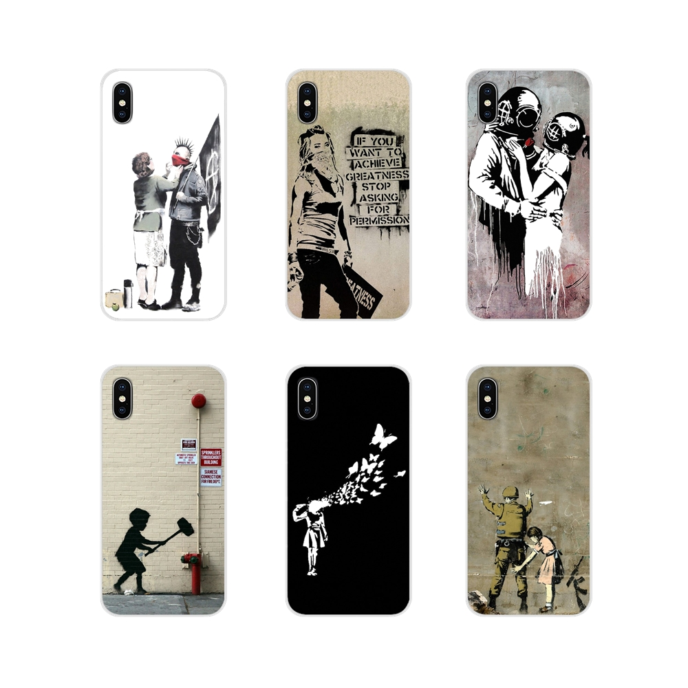 Banksy Graffiti For Apple iPhone X XR XS 11Pro MAX 4S 5S 5C SE 6S 7 8 Plus ipod touch 5 6 Accessories Phone Shell Covers