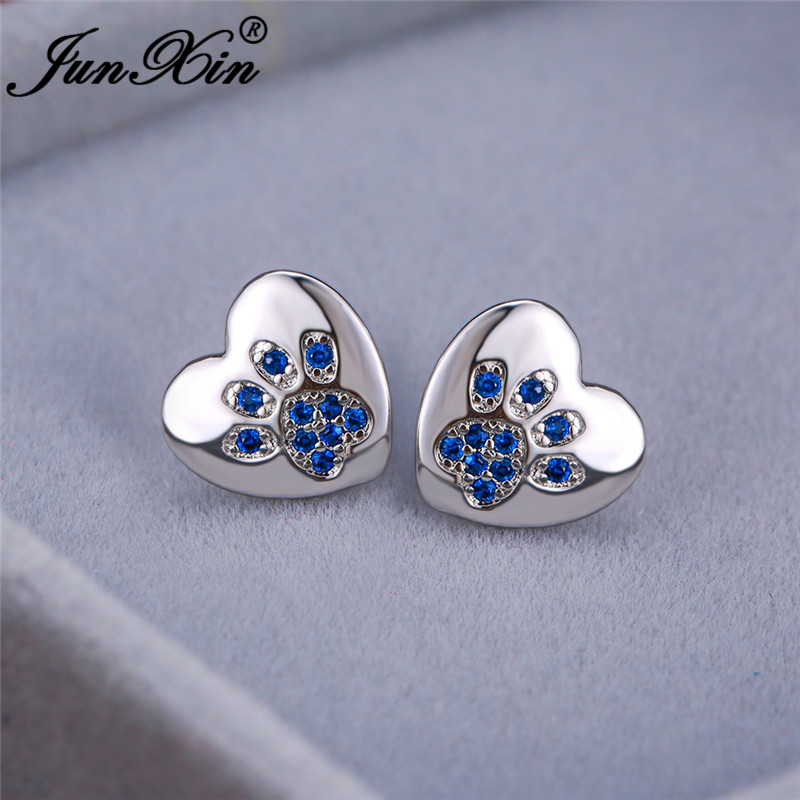 Animal Bear Cat Dog Paw Stud Earrings For Women Men White Gold Color Black White Blue Zircon Heart Earrings Wedding Jewelry Cz