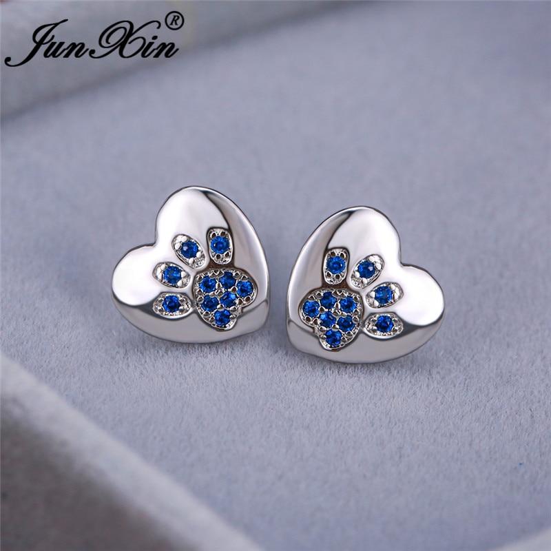 Animal Bear Cat Dog Paw Stud Earrings For Women Men White Gold Color Black White Blue Zircon Heart Earrings Wedding Jewelry Cz