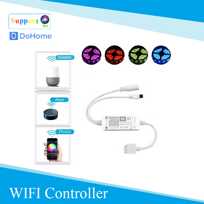Dohome  5Pin LED Strip Light  Controller Support Siri RGB Tape DC5-25V Ribbon Diode Led Strips Light Flexible Stripe