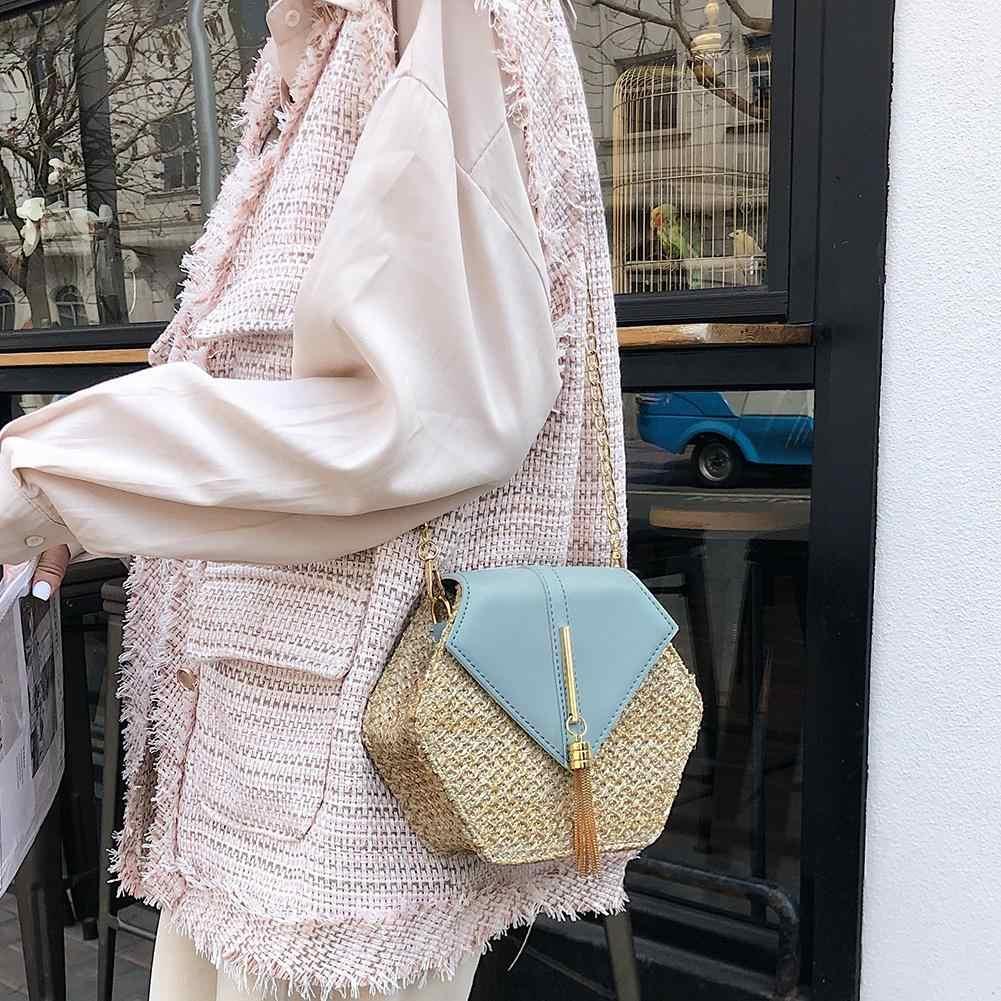 Hexagon Mulit Gaya Jerami + Kulit Tas Tangan Wanita Musim Panas Tas Rotan Handmade Woven Pantai Lingkaran Bohemia Tas Bahu New Fashion