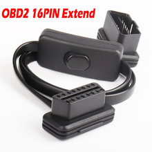 Flat Thin Noodle OBD Interface with Switch OBDII OBD 2 16Pin Male To Female ELM327 Diagnostic Extension Cable Scanner Connector