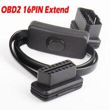 שטוח דק אטריות OBD ממשק עם מתג OBDII OBD 2 16Pin זכר לנקבה ELM327 אבחון הארכת כבל סורק מחבר