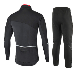 Image 2 - ARSUXEO Mens Cycling Jacket Set Winter Windproof Thermal Fleece  Bike Jersey Suits MTB Sportswear Bicycle Pants Clothing 17DD