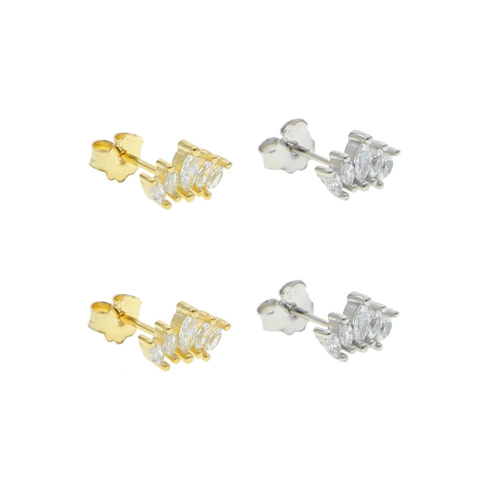2020 new 925 sterling silver multi oval cz shiny cubic zirconia earring stud earring Mini small girl women jewelry
