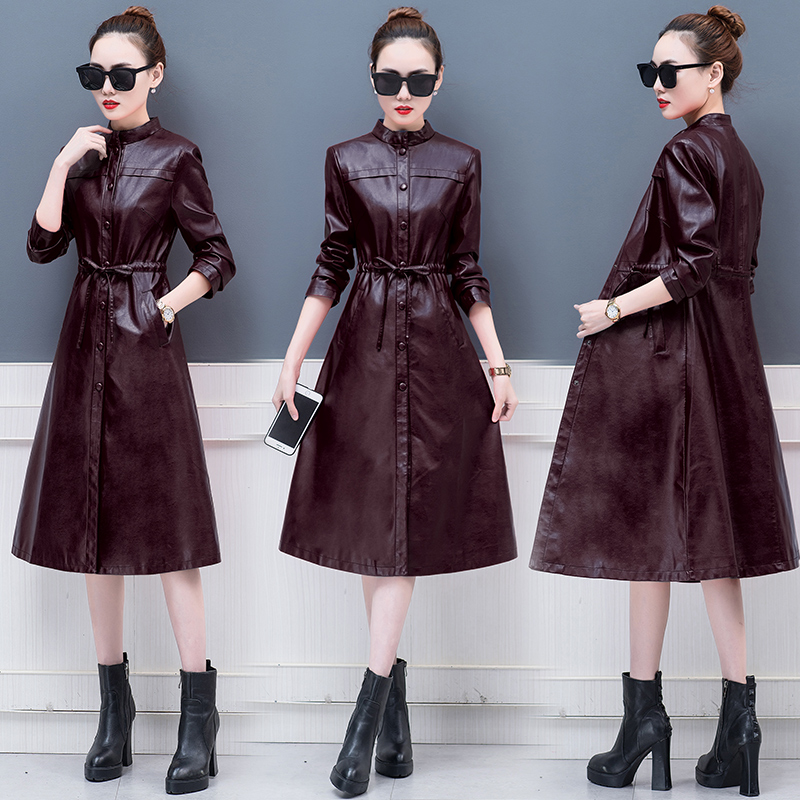 Plus 3XL Leather Coat Jacket Women Fashion Slim Patchwork Long Female Jacket High Quality PU Motorcycle Autumn Winter Outerwear in Leather Jackets from Women 39 s Clothing