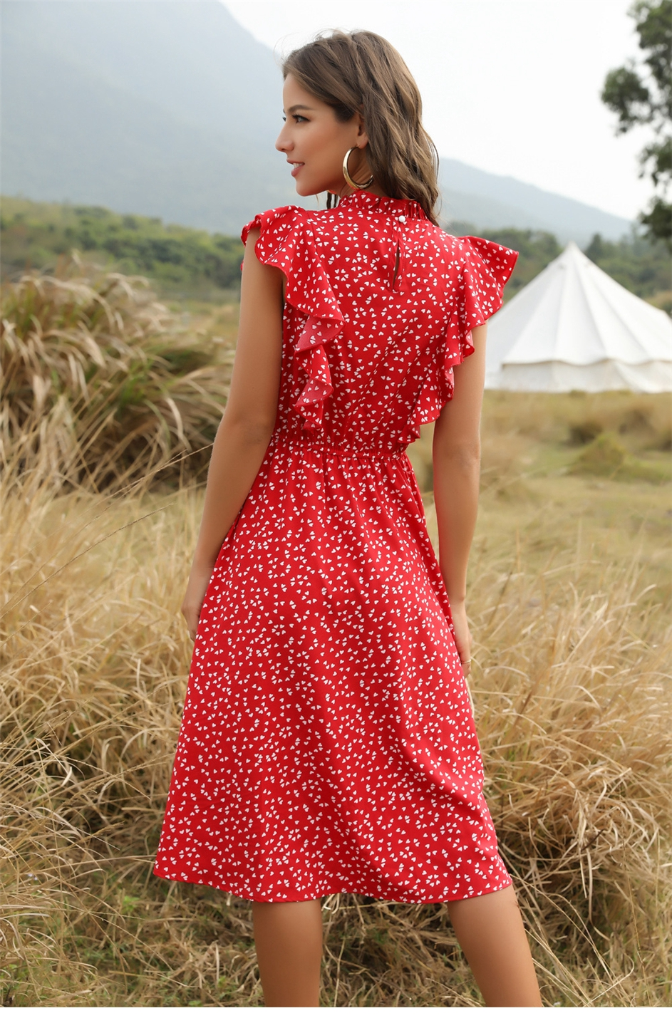 The elegant back view of Women's Casual Butterfly Sleeve Ruffles Chiffon Summer Dress