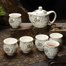 7Pcs Jingdezhen Tea Set Blue and White Porcelain Double Wall Cup Creative Flower Dragon Moutain Teapot Kung fu tea set Teaware